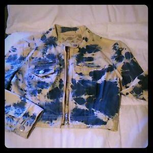 DKNY jeans acid wash 3/4 sleeve short jacket